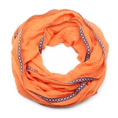 Embroidered Infinity Scarf in Orange