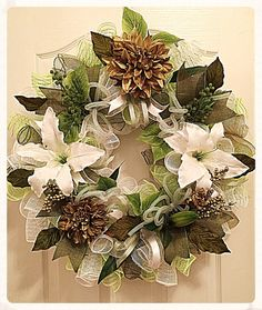 Elegant Lily White, Moss and Lime Deco Mesh Wreath/Mother's Day Wreath/Wedding Wreath/Summer Wreath/White, Moss and Lime Lily Wreath