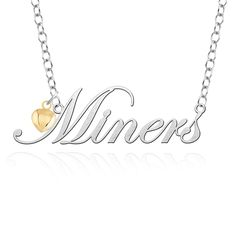 Texas El Paso Miners Script Necklace with Gold Heart Accent