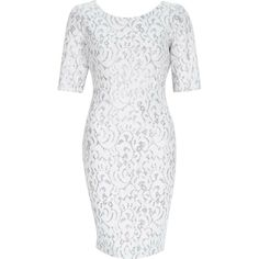 768cbf5a NEW River Island White Silver Sparkly Lace Effect Bodycon Dress Party 6 to  14