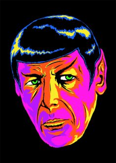 """Artist Kevin Sukho Lee created """"Neon Spock"""" using fluorescent acrylic on an illustration board, which would undoubtedly look trippy when exposed to a black light."""