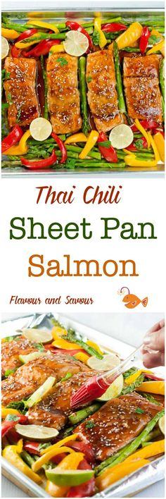 This Thai Chili Sheet Pan Salmon needs minimal preparation, easy clean-up, and a healthy, flavourful supper all baked on one pan in less than 20 minutes. Clean Eating Recipes, Raw Food Recipes, Healthy Recipes, Delicious Recipes, Healthy Food, Dinner Recipes, Pan Seared Salmon, Baked Salmon, Salmon Recipes