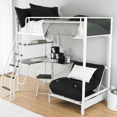 Bedroom Design, Marvelous Teens Bedroom White Futon Bunk Bed Design With Black Bed Furniture Bunk Beds For Teens Ideas Combining Climb Stair And Mini Desk Also Task Chair Along With Comfy Lounge Chair And Pillows: Tips on Choosing Cool Bunk Beds for Teens Loft Bed With Couch, Bunk Bed With Desk, Bunk Beds With Stairs, Cool Bunk Beds, Kids Bunk Beds, Bed Couch, Desk Chair, Bunk Bed Desk, Sofa Beds