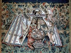 Tapestry c. 1495 - People playing cards inside a tent