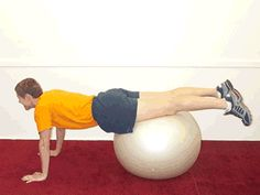Challenge your core and your upper body with this move: Pushups on the Ball