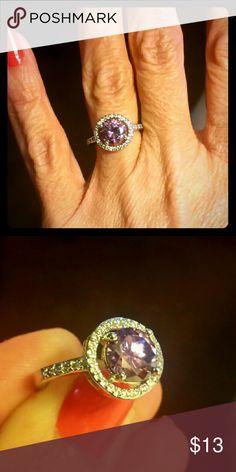 Round cut purple CZ ring size 6 Purple round cut cz ring Jewelry Rings