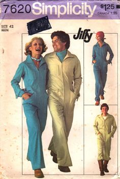 5f8719d671c Simplicity 7620 1970s Mens Jiffy Zip Front Jumpsuit Coveralls Uniform Overalls  Pattern Vintage Sewing Pattern Size