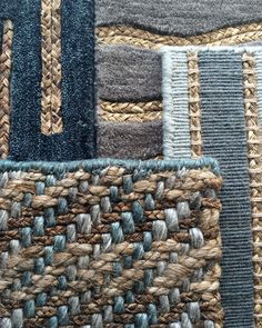Flock Gaia collection mixing hand tufted wool and plant fibres in shades of blue #interiordesign #interiors #flooring #rugs #naturalflooring #wool #blue #carpet #floorcovering #naturalfibres #blueinteriors