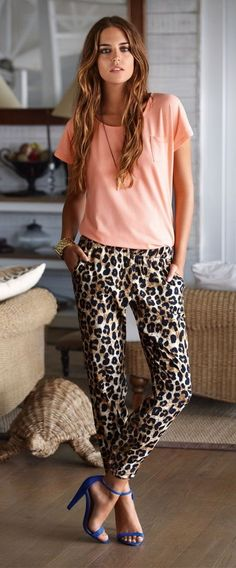 Peach tee + sabertooth necklace + leopard pants + cobalt strap heels