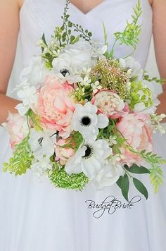 Blush Davids Bridal Wedding Brides bouquet with blush pink peonies, Anemones, white roses and wildflowers and foliage in silk fake flowers Wedding Bouquets Pictures, Spring Wedding Bouquets, Bride Bouquets, Flower Bouquet Wedding, White Anemone Flower, Anemone Bouquet, Pink Bouquet, Anemones, White Roses