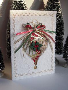Iris Folding Christmas Ornament Card of by warmtouchcreations Iris Folding Templates, Iris Paper Folding, Iris Folding Pattern, Christmas Ornament, Crochet Christmas, Christmas Bells, Christmas Angels, Rustic Christmas, Card Making Inspiration
