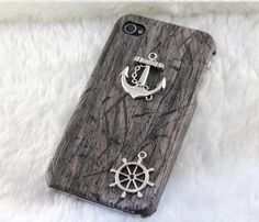 Vintage silver anchor & rudder,PU leather Black Hard Case Cover--for Apple iPhone 4 Case, iPhone 4s Case, iphone 5 case,iPhone 4 Hard Case