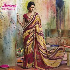 LP_2567 - MULTI COLORED WITH BEAUTIFUL ABSTRACT DESIGN ON GEORGETTE