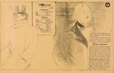 """Henri de Toulouse-Lautrec  Oscar Wilde et Romain Coolus - Programme pour """"Raphaël et Salomé"""". - Jeanne Granier 2 Blatt Lithographien 1896 und 1898"""