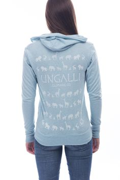 Hoodie made of 65% recycled blue plastic bottles & 35% recycled cotton! www.ungalli.com/index.php/womens-clothing/the-recycled-blue-bottle-jungle-zip-up.html