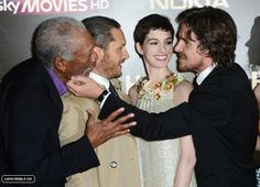 Christian Bale stroking Morgan Freeman's glorious facial scruff at The Dark Knight Rises premiere.