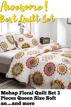 (This is an affiliate pin) Mohap Floral Quilt Set 3 Pieces Queen Size Soft and Breathable for All Season Bedspread 1 Quilt and 2 Matching Shams Sunflower Pattern