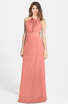 Luxury A-line Sleeveless Zip up Chiffon Floor Length Bridesmaid Dresses