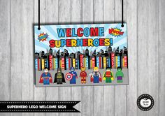 LEGO SUPERHERO Welcome Sign Birthday Sign Superhero Party Lego Birthday Super hero party decorations Backdrop Photo Booth Props the Avengers