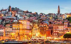 Télécharger fonds d'écran Porto, le remblai, la ville de soirée, feux de route, Portugal