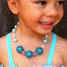 Frozen or Mermaid Costume Elsa Necklace, Aqua Blue and Purple Toddler Necklace, Girls Chunky Necklace, Kids Jewelry, Frozen Party, Mermaid Party