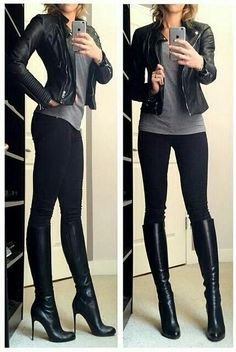 Tall Black Boats Outfit Winter Leggings Shoes New Ideas Casual Winter Outfits, Winter Outfits Women, Edgy Outfits, Night Outfits, Classy Outfits, Pretty Outfits, Fall Outfits, Summer Outfits, Fashion Outfits