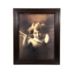 """Antique Wall Art Print of """"Cupid Awake"""" Framed Lithograph, circa 1897, Large 24"""" Vintage Wall Decor"""