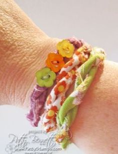 fabric bracelets with tutorial. This would be cute with recycled fabric, too (shown with Stampin' Up! fabric).