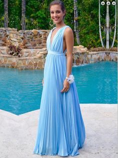 Light Blue Prom Dresses,Chiffon Evening Dress,Simple Prom Gowns,V neckline Prom Gown,Beautiful Formal Gown,Prettiest Evening Dress,2016 Backless Prom Dress