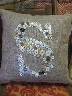 Vintage Button Initial Pillow. $32.00, via Etsy.
