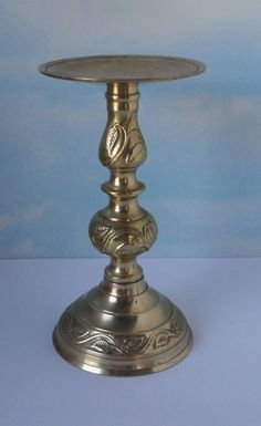 Vintage Brass Pedestal Pillar Candle Holder by Cosasraras on Etsy