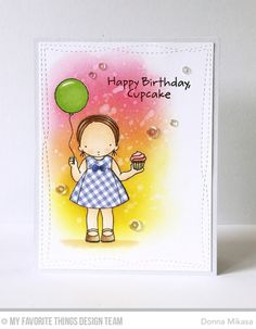 Cupcake Day Stamp Set, Wonky Stitched Rectangle STAX Die-namics - Donna Mikasa  #mftstamps