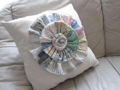 Love this pillow made from an old quilt.
