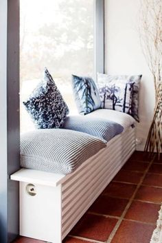 We love how this radiator cover has doubled up into a cosy window seat! Bedroom Radiators, Home Radiators, Small Space Interior Design, Interior Design Living Room, Interior Decorating, Modern Radiator Cover, My New Room, Home Decor Bedroom, Furniture