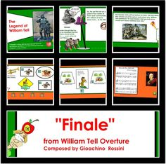 William Tell Overture / Rossini / SMARTBoard Music lesson with multiple interactive features. Explore the Legend of William Tell, Learn about Rossini and Opera... Listening map with interactive buttons make this piece super cool!  BEWARE of the wandering eye!!