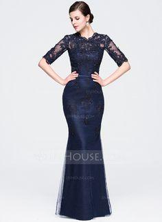 Trumpet/Mermaid Scoop Neck Floor-Length Beading Appliques Lace Sequins Zipper Up Sleeves 1/2 Sleeves No Dark Navy Winter Spring Fall General Plus Tulle Evening Dress