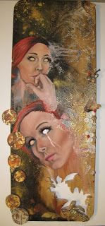 Oil, gold dust, recycled wood, distressed timber