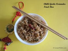 Chilli Garlic Coriander Fried Rice is an easy to prepare dish. It can be prepared in a jiffy and with the ingredients easily available in our pantry. I pre