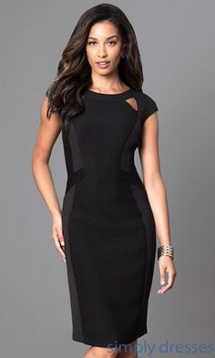 Knee-Length Black Dress with Cap Sleeves - Brought to you by Avarsha.com