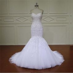 Real Photos Mermaid Wedding Dress White Tulle Beaded Lace Women Mermaid Wedding Dresses Bridal Gown MM18 on http://ali.pub/jep1l