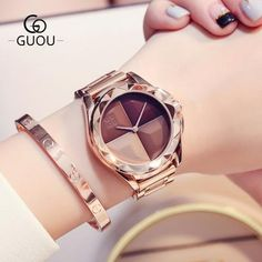 Case Shape: RoundBand Material Type: Stainless SteelBrand Name: GUOUStyle: Fashion & CasualWater Resistance Depth: Fancy Watches, Cute Watches, Elegant Watches, Beautiful Watches, Luxury Watches, Stylish Watches For Girls, Trendy Watches, Accesorios Casual, Watch Brands