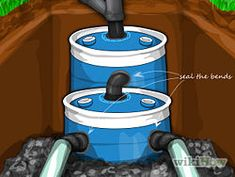 """Construct a Small Septic System with 2 55gal drums and 40+ feet of 4"""" pipe"""