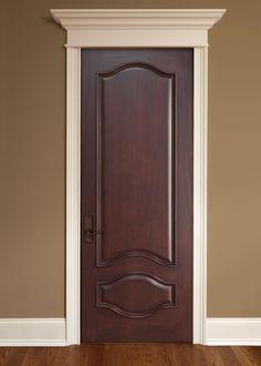 Interior Door Custom - Single - Solid Wood with Dark Mahogany Finish, Classic, Model DBI-461