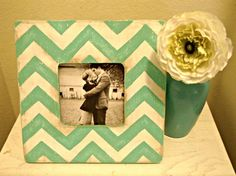 Teal & White Chevron Stripe Picture Frame by StellabytheSea, $18.00