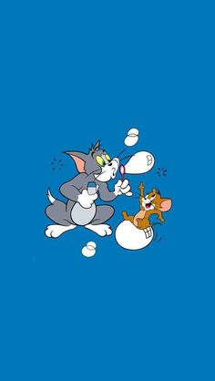 Tom and jerry blowing bubbles