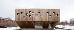 Completed in 2010 in Oslo, Norway. Images by Thomas Bjørnflaten. Reiulf Ramstad Architects has been involved in designing a new kindergarten for Fagerborg Congregation in central Oslo. The kindergarten offers Wood Architecture, School Architecture, Residential Architecture, Contemporary Architecture, Oslo, Materials And Structures, Wood School, Concrete Wood, Building