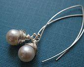 Wire wrapped pearl earrings, Sterling Silver artisan hooks, freshwater pearl earrings, modern pearl earrings, dangle earrings