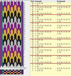 20 tarjetas, 5 colores, repite cada 4 movimientos // sed_421a diseñado en GTT༺❁