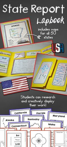 State Report Lapbook This State Report resource provides materials needed for students to organize and present their research on one of our fifty nifty states! Perfect for students in mid to upper elementary, this resource includes a variety of material 3rd Grade Social Studies, Social Studies Classroom, Social Studies Activities, Teaching Social Studies, Geography Activities, Student Teaching, Study History, History Class, History Facts