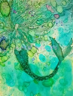 Abstract Mermaid Painting Print #alcoholink #abstract #mermaid #fantasy #KeriPhillips #KeriPhillipsArt #painting #print #art #forsale